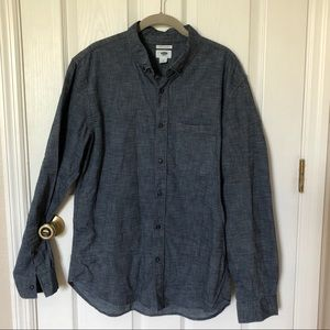 Men Chambray Long Sleeve Buttonup Old Navy
